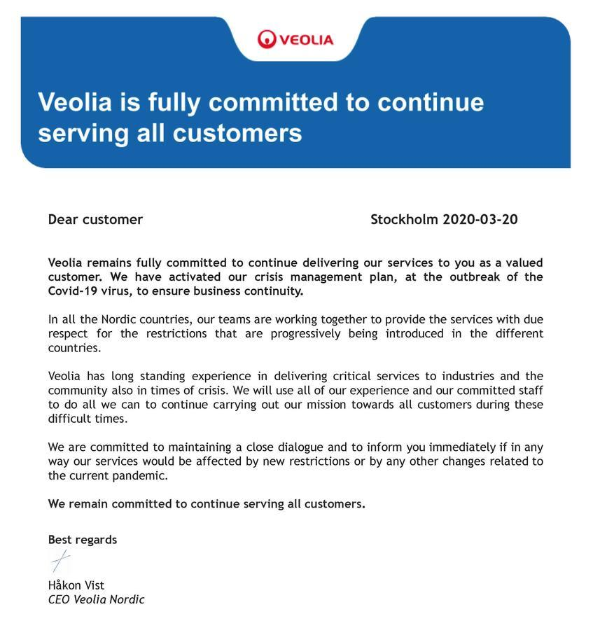 Customer letter regarding COVID-19